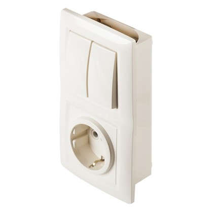 Блок с розеткой Reone 2 клавиши цвет слоновая кость