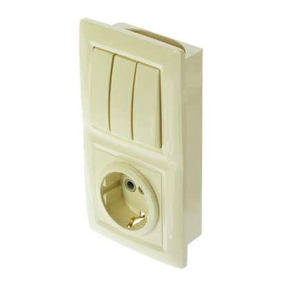 Блок с розеткой Reone 3 клавиши цвет слоновая кость
