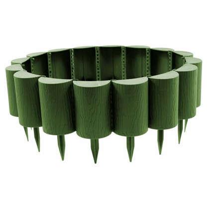 Бордюр садовый декоративный Пеньки 15x160 см цвет хаки