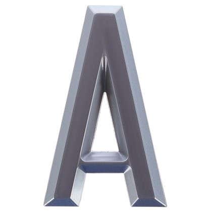 Буква А Larvij самоклеящаяся 60x37 мм пластик цвет матовый хром