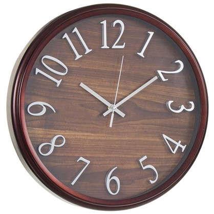 Часы настенные Темное дерево диаметр 36 см