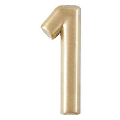 Цифра 1 самоклеящаяся 40х32 мм пластик цвет матовое золото