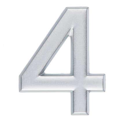Цифра 4 самоклеящаяся 40х32 мм пластик цвет матовое серебро