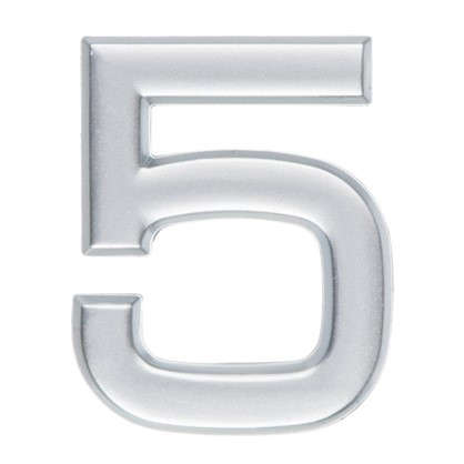 Цифра 5 самоклеящаяся 40х32 мм пластик цвет матовое серебро