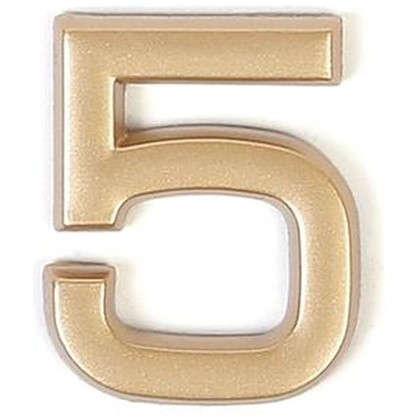 Цифра 5 самоклеящаяся 40х32 мм пластик цвет матовое золото