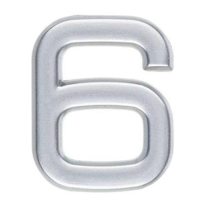 Цифра 6 самоклеящаяся 40х32 мм пластик цвет матовое серебро