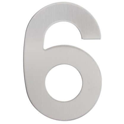 Цифра 6 самоклеящаяся 95х62 мм нержавеющая сталь цвет серебро