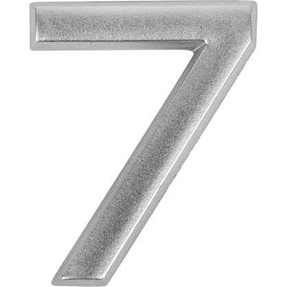 Цифра 7 самоклеящаяся 40х32 мм пластик цвет матовое серебро