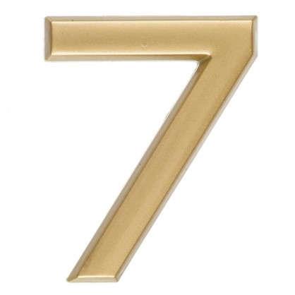 Цифра 7 самоклеящаяся 40х32 мм пластик цвет матовое золото