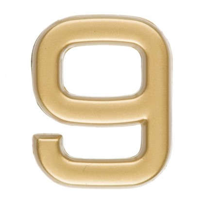 Цифра 9 самоклеящаяся 40х32 мм пластик цвет матовое золото