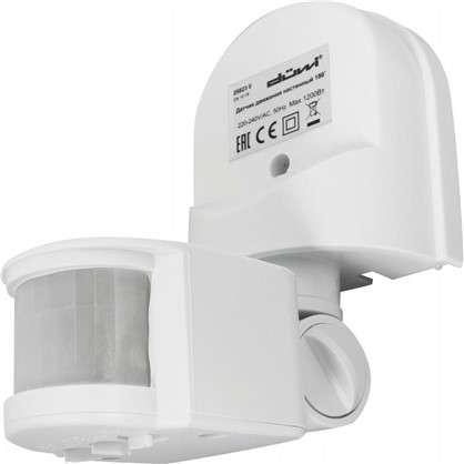 Датчик движения накладной радиус действия 6 метров 180 градусов 1100 Вт цвет белый IP44