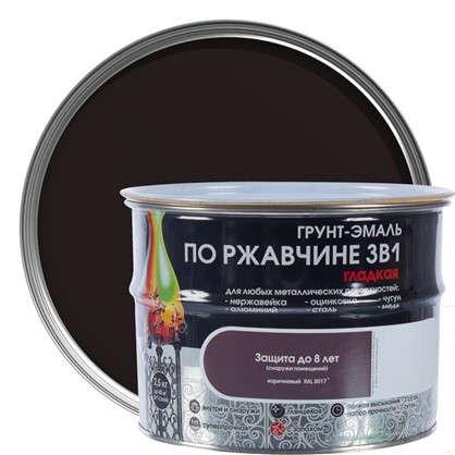 Эмаль гладкая Dali 3в1 цвет коричневый 2.5 кг