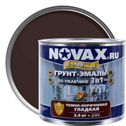 Эмаль-грунт по ржавчине Novax 3в1 цвет темно-коричневый 2.4 кг