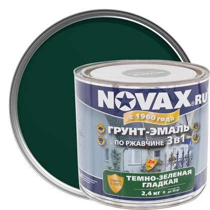 Эмаль-грунт по ржавчине Novax 3в1 цвет темно-зеленый 2.4 кг
