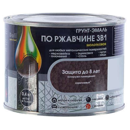 Эмаль молотковая Dali 3в1 цвет коричневый 0.4 кг
