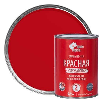 Эмаль ПФ-115 Простокраска цвет красный 0.9 кг