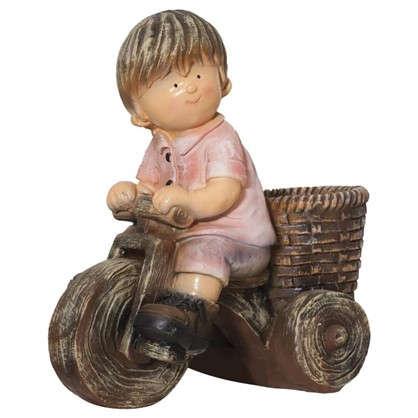 Садовая фигура Мальчик на велосипеде высота 42 см