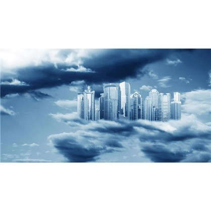 Фотообои флизелиновые Город в облаках 370х200 см