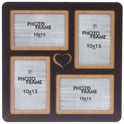 Фотосет Сердце 4 фото размер фото 10х15 см цвет венге