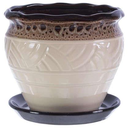 Горшок цветочный Дарья бежевый 2.1 л 171 мм керамика с поддоном