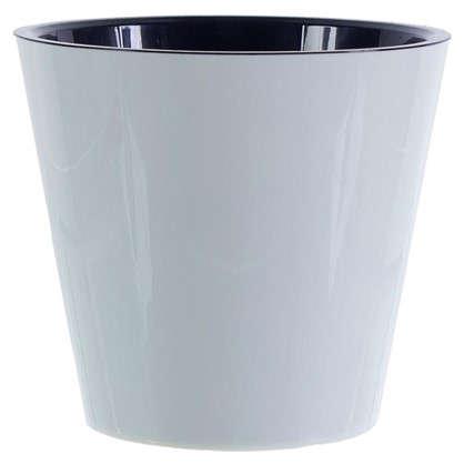 Горшок цветочный Фиджи белый 5 л 230 мм пластик с поддоном