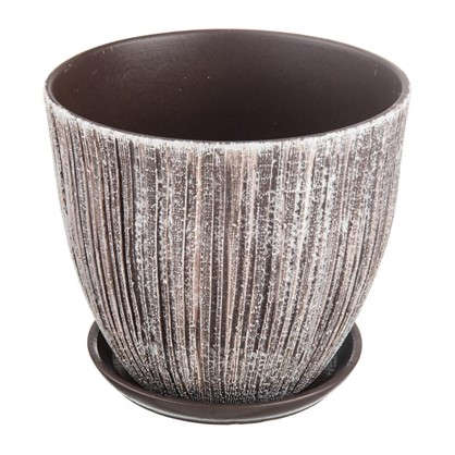 Горшок цветочный Меланж серый 8.5 л 260 мм керамика с поддоном