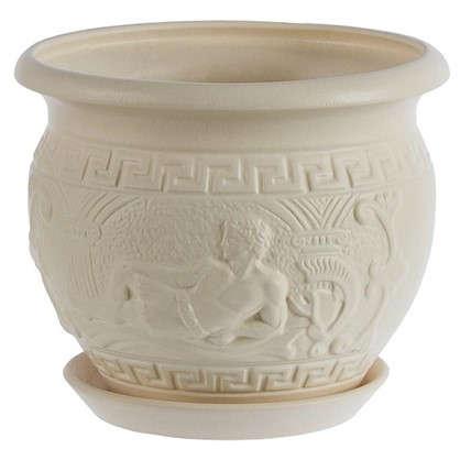 Горшок цветочный Олимпия белый 3.8 л 215 мм керамика с поддоном