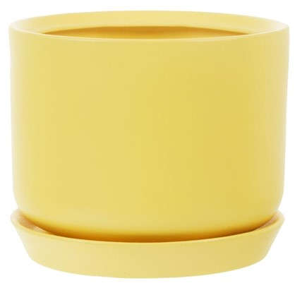 Горшок цветочный Орфей d29 см керамика цвет жёлтый