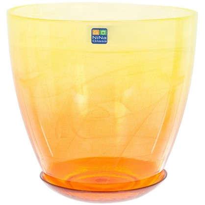 Горшок цветочный Современный жёлто-оранжевый 3 л 195 мм стекло