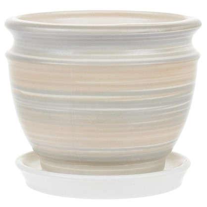 Горшок цветочный Уют серый 0.8 л 131 мм керамика с поддоном