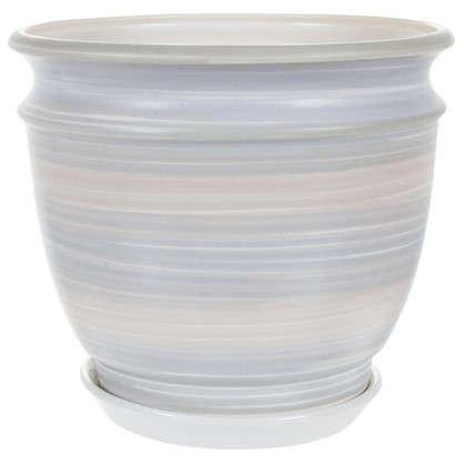 Горшок цветочный Уют серый 4.2 л 233 мм керамика с поддоном