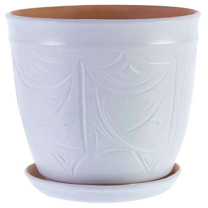 Горшок цветочный Узоры белый 14.4 л 280 мм керамика с поддоном