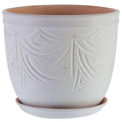 Горшок цветочный Узоры бежевый 7.9 л 245 мм керамика с поддоном