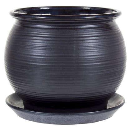 Горшок цветочный Венге чёрный 1.8 л 162 мм керамика с поддоном