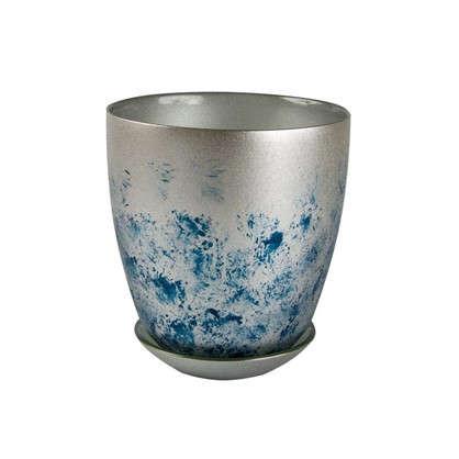 Горшок Современный 0.85 л 13.2 см стекло цвет серебрённый металлик