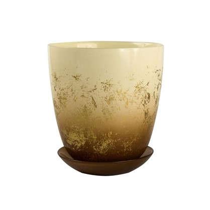 Горшок Современный 2 л 15.8 см стекло цвет прозрачный кремовый