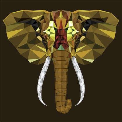 Холст 30х30 см Голова слона