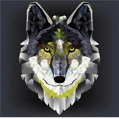 Холст 30х30 см Голова волка