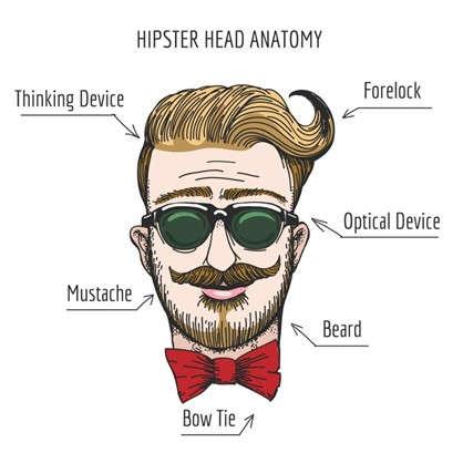 Холст 30х30 см Hipster head