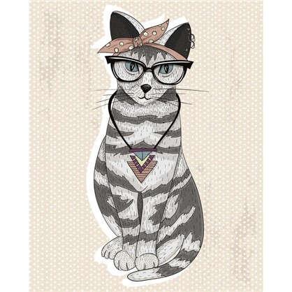 Холст 30х30 см Кошка и очки