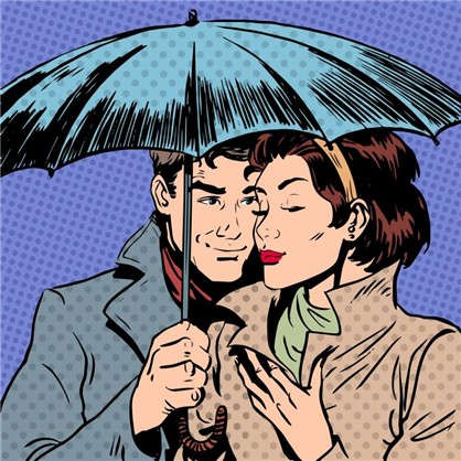 Холст 30х30 см Пара под зонтом