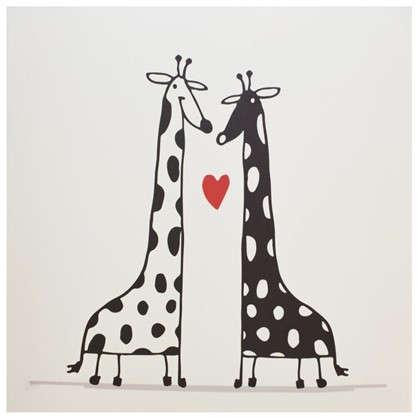 Холст 30х30 см Жирафы любовь
