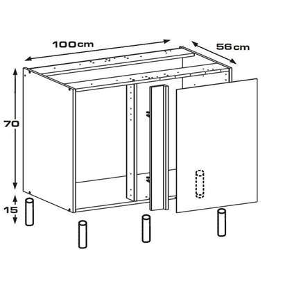 Каркас напольный угловой 100х56х70 см ЛДСП белый