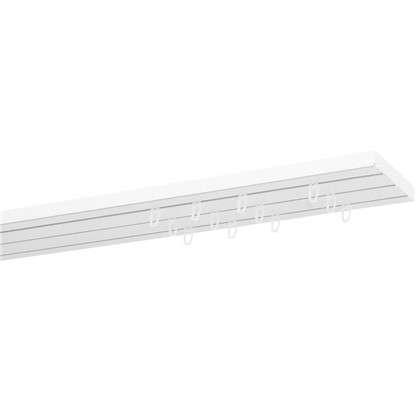 Карниз пластиковый трехрядный Inspire в наборе 200 см пластик цвет белый