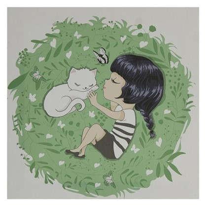 Картина на холсте 30х30 см Девочка с котом