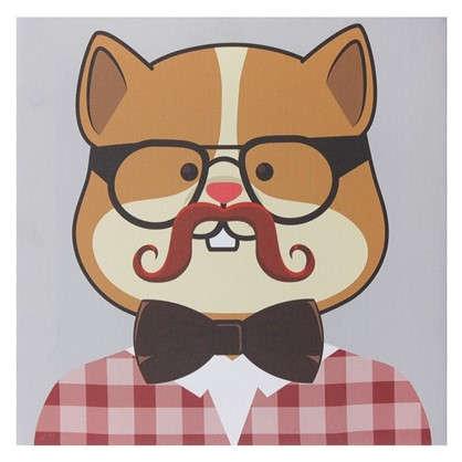 Картина на холсте 30х30 см Hipster cat цвет бежевый