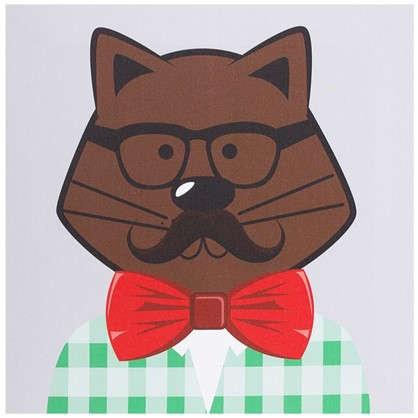 Картина на холсте 30х30 см Hipster cat цвет коричневый