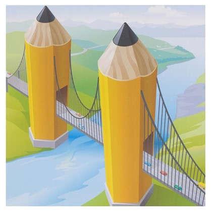 Картина на холсте 30х30 см Мост из карандашей