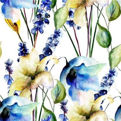 Картина на холсте 30х30 см Принт голубые цветы-1