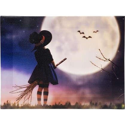 Картина на холсте 30х40 см Ведьма на метле